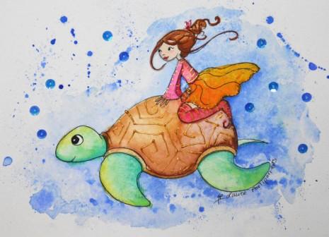 Aquaralle d'une fée sur une tortune marine