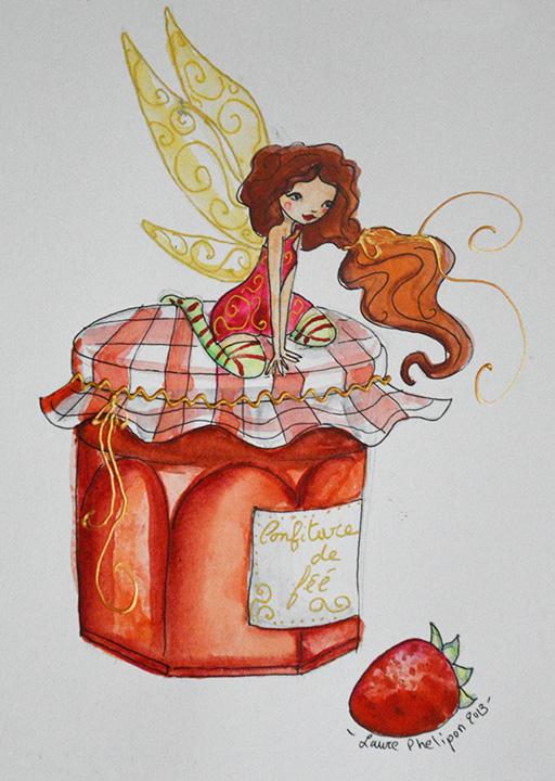 fée confiture : aquarelle de Laure Phelipon