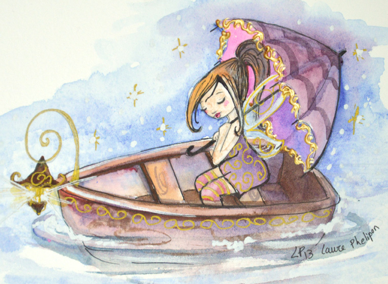Illustration jeunesse à l'aquarelle d'une fée dans une barque
