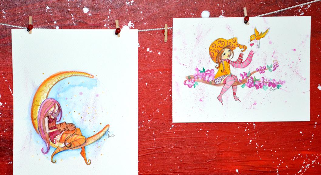 illustrations jeunesse de princesse sur la lune et fee sur une branche d'arbre