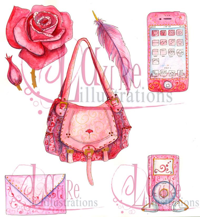 Illustrations aquarelle : sac iphone rose enveloppe plume