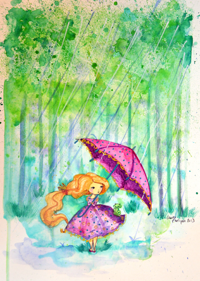fillette au parapluie dans la foret en aquarelle