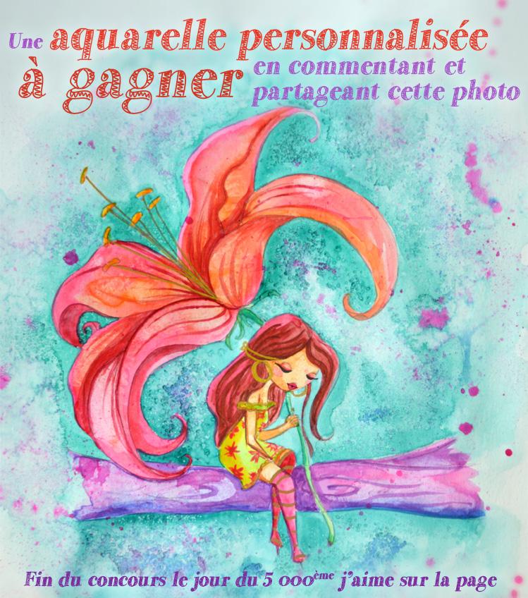 Une illustration à l'aquarelle d'une petite fée qui s'abrite sous une fleur