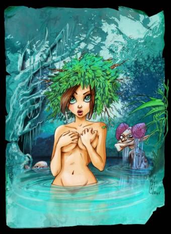 mise en couleur de l'illustration d'une jolie pépette sur un croquis de l'illustrateur willam maury