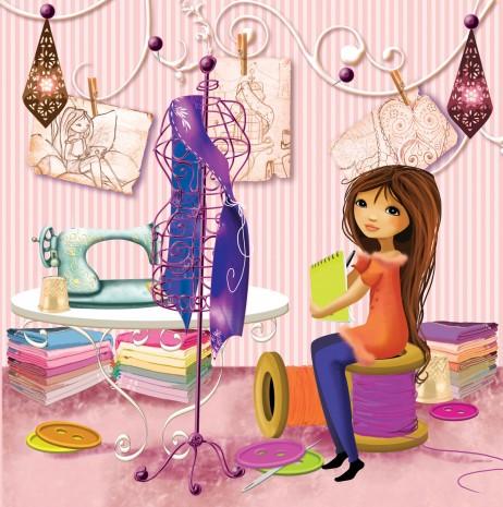 melle Elina dans un atelier de couture