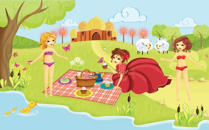 illustration de 3 princesses dans le jardin du château qui font un pique-nique