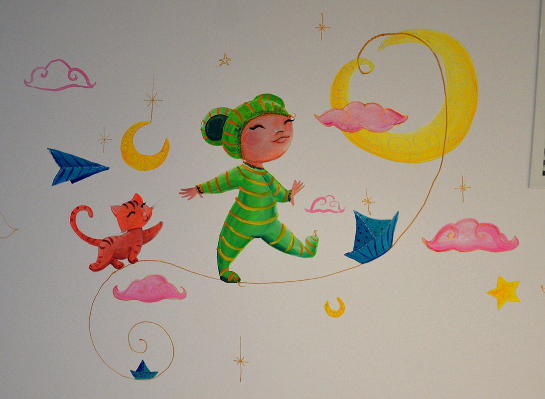 fresque pour enfants bébé et son chat dans la lune