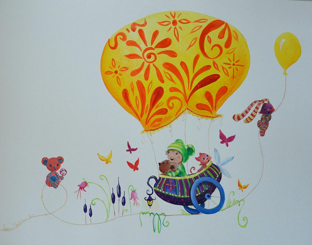 Charriot mongolfiére sur la fresque