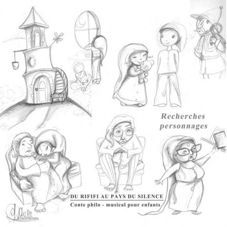 recherches de personnages croquis et dessins