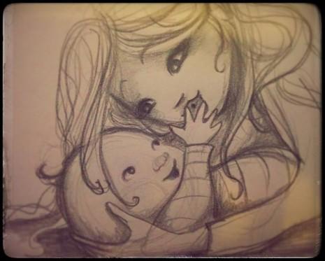 maman qui caline bébé