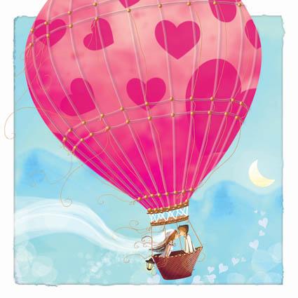 amoureux mariage dans une montgolfière