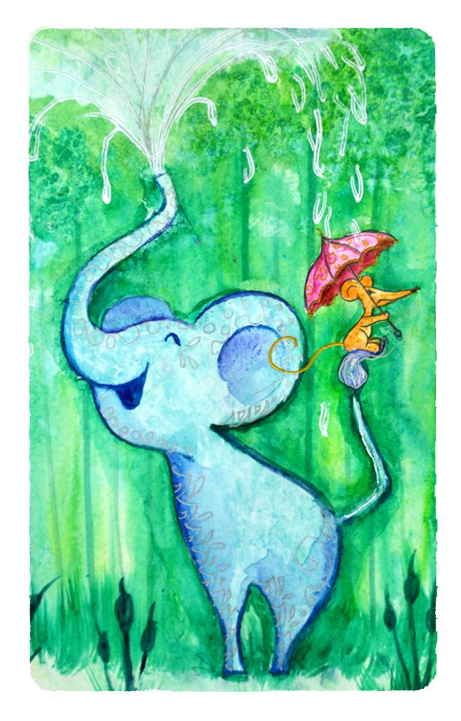 mon éléphant à l'aquarelle