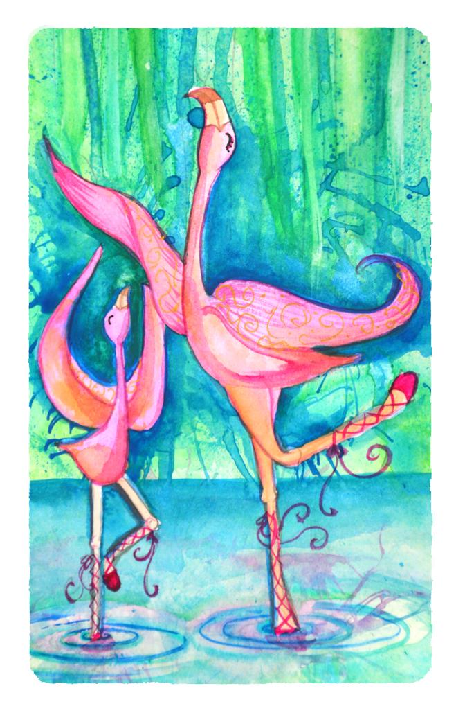 mes flamants rose à l'aquarelle