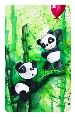 les pandas à l'aquarelle