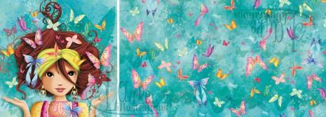 coupons et tissus fille aux papillons