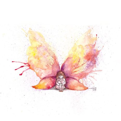 illustration la fille papillon