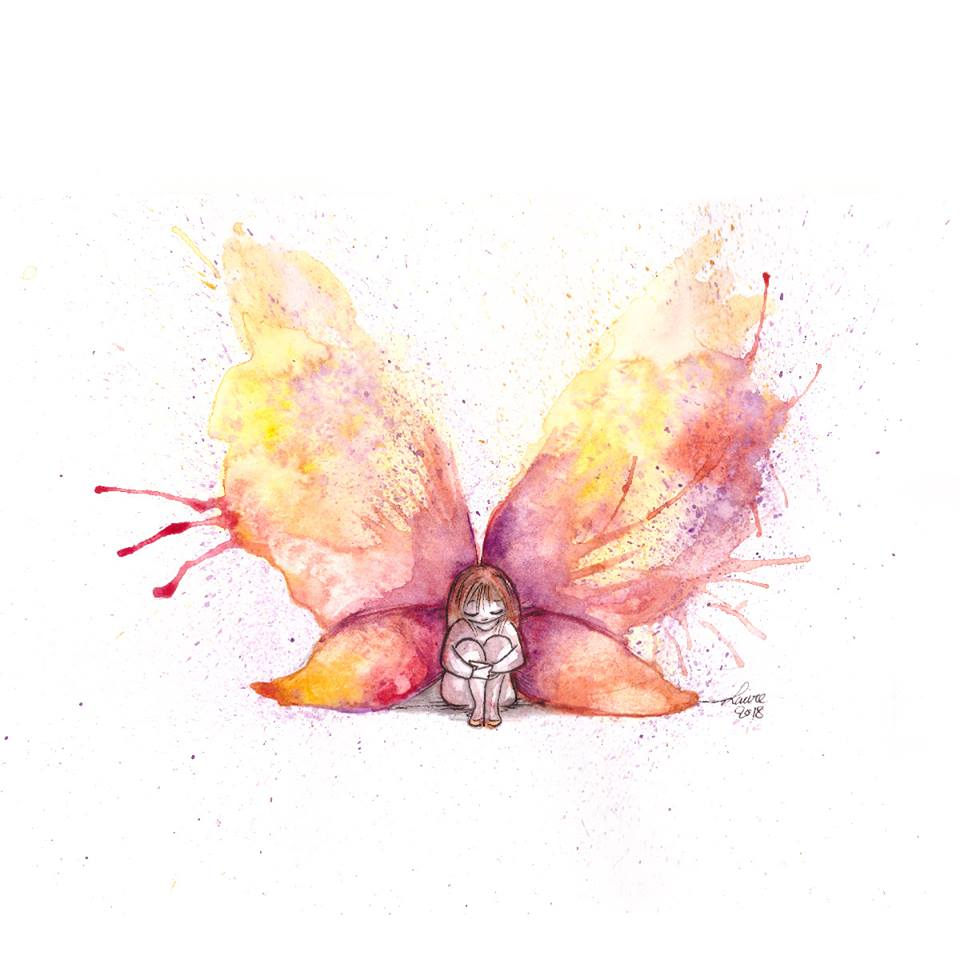 illustration la fille papillon