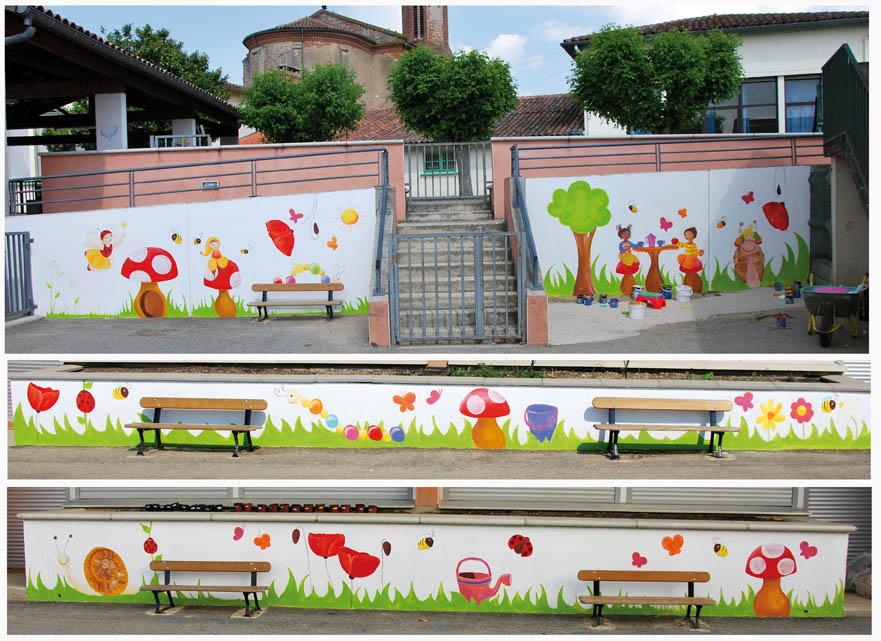 Fresque murale de la ville dieu th me nature ptit blog d 39 une illustratrice jeunesse - Tableau d ecole mural ...