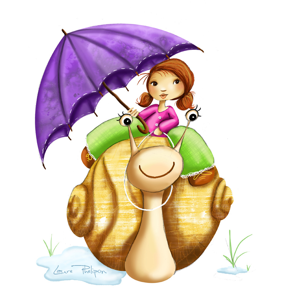 illustration d'une fillette avec son parapluie assise sur le dos d'un escargot