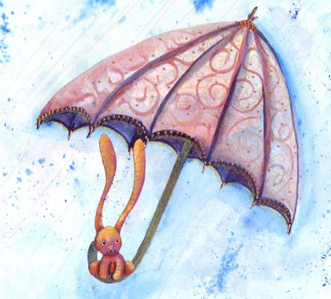 illustration de lapin rose sous un parapluie