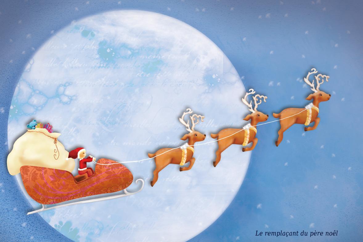 le père noël sur son traineau tiré par les rennes qui part distribuer les cadeaux