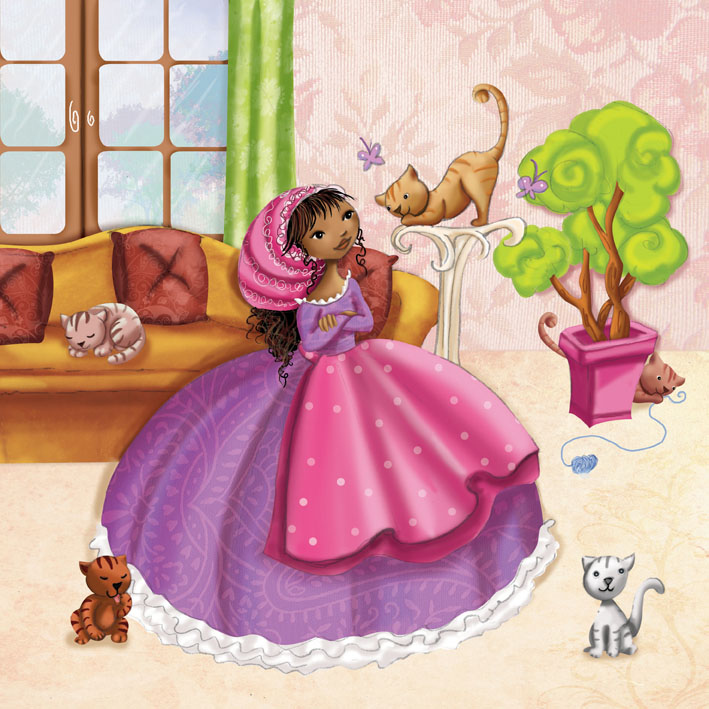 Illustration 3 : une princesse qui aime les chats