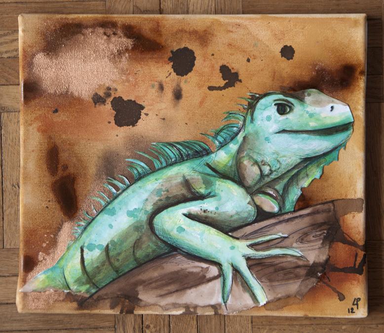 peinture sur toile iguane