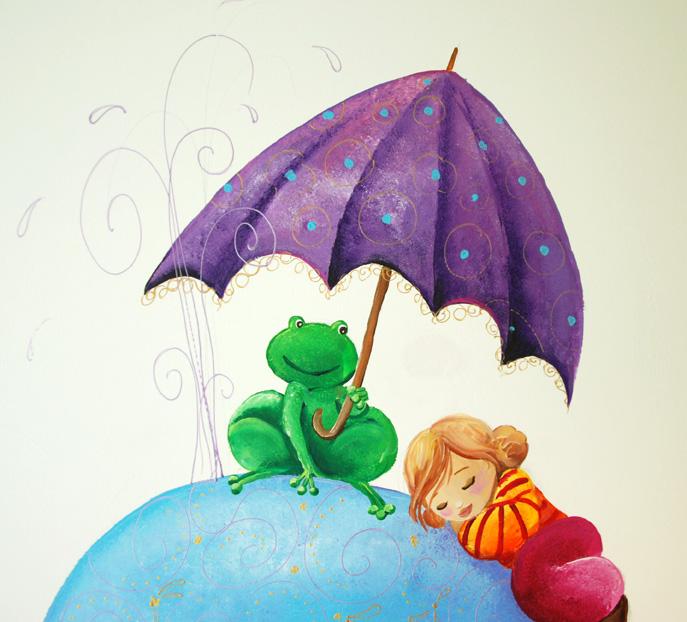grenouille qui tient un parapluiepour abriter l'enfant qui dort
