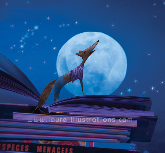 loup devant la pleine lune illustration jeunesse