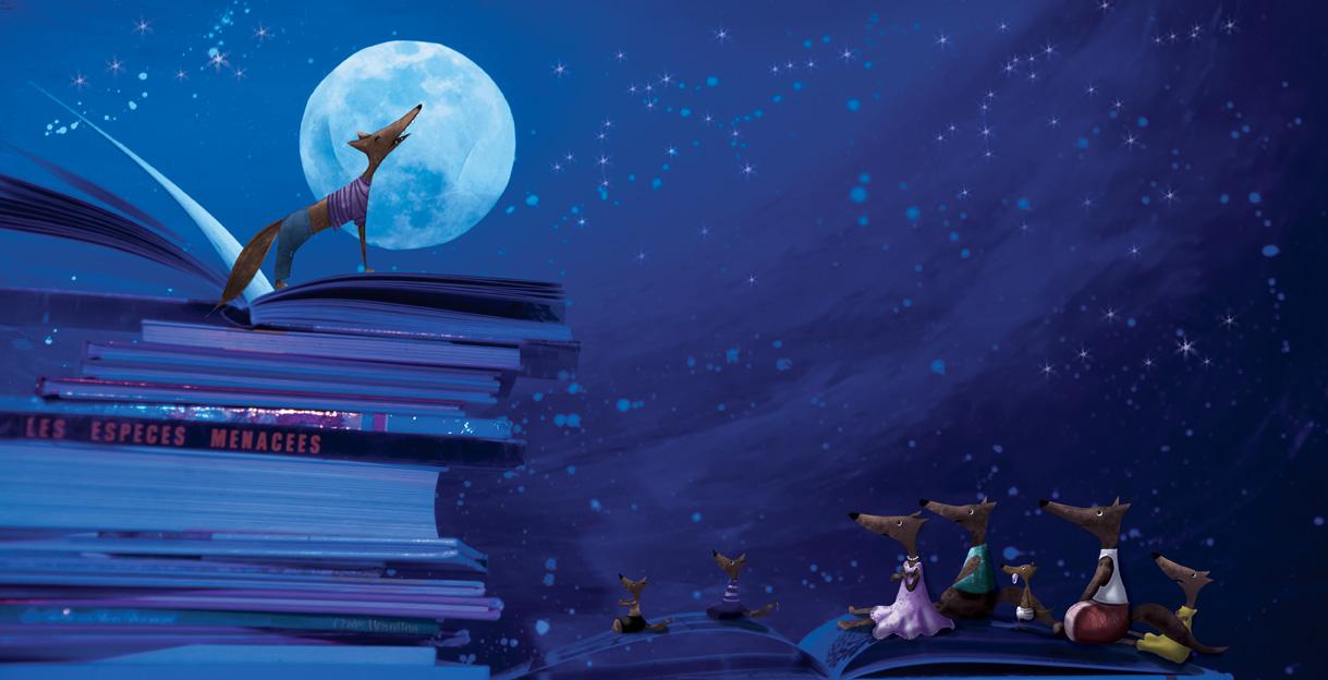 illustration du loup au clair de lune
