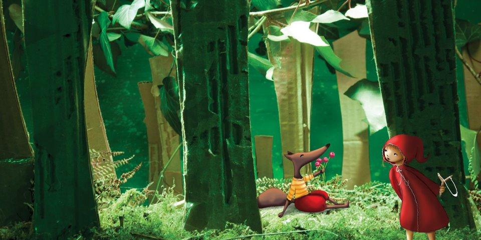 illustration loup et petit chapearon rouge dans les bois