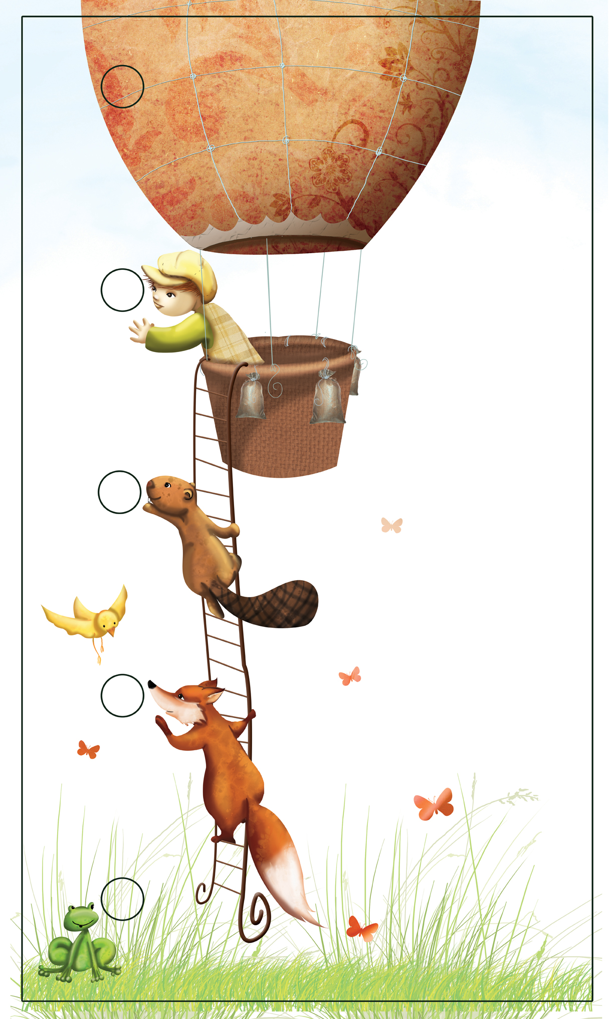 illustration enfant dans une montgolfière