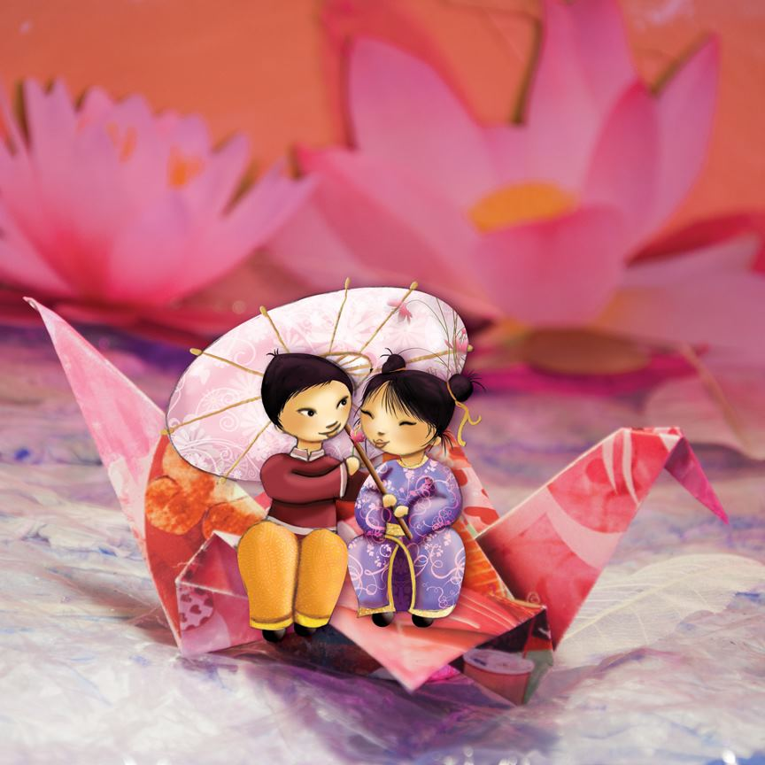 illustration petit couple de chinois assis sur une cocotte en papier