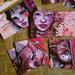 mes cartes illustrations de chats et portraits de femme