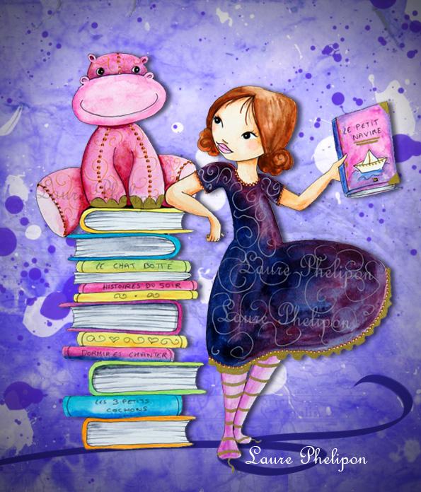 illustration fillette à la bibliothèque
