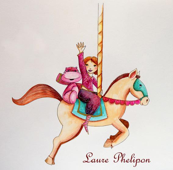 illustration d'une princesse qui fait du manège
