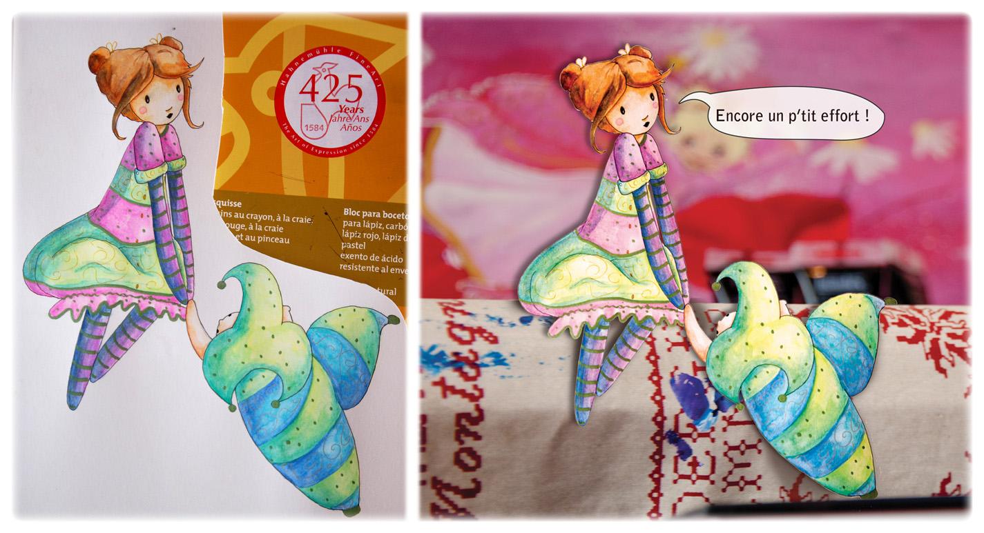 petite fille et doudou à l'aquarelle illustration jeunesse