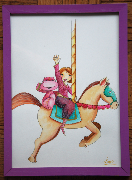 illustration aquarelle du manège à vendre