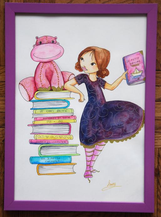 illustration aquarelle bibliothèque à vendre