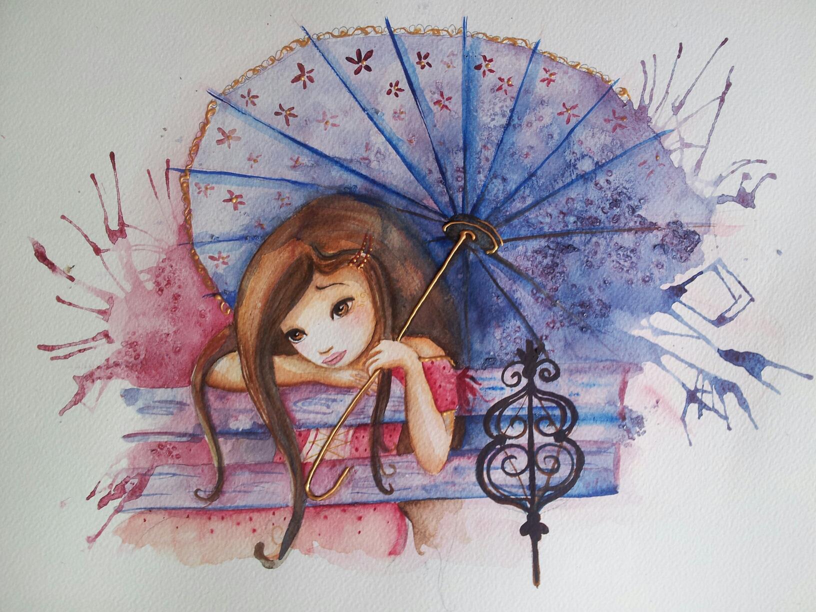 Portrait de femme - aquarelle sur papier épais - 42 x 29,7 cm - 50 €