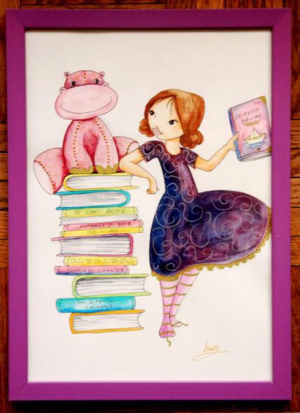 fillette à la bibliothèque aquarelle encadrée