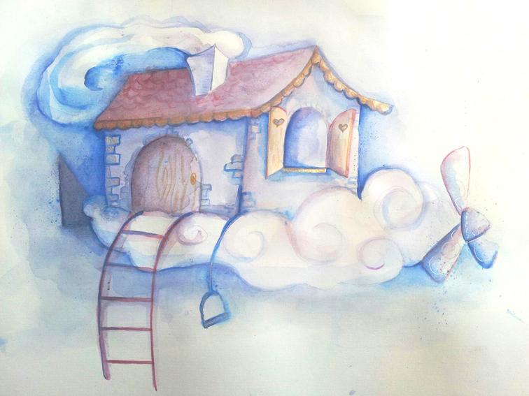 aquarelle maison dans les nuages