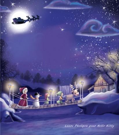 ambiance de noel avec le père noel, le renne, le lutin, la lutine et le bonhomme de neige