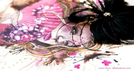"""Illustration """"portrait de femme"""" étape par étape"""