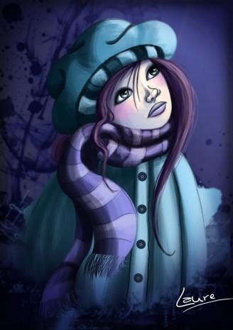 illustration d'une femme rêveuse en hiver