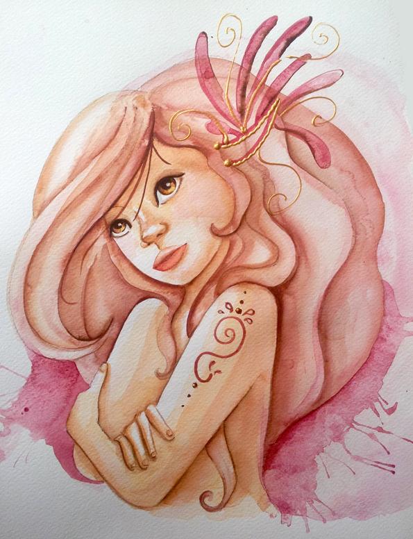 femme torse nu à l'aquarelle