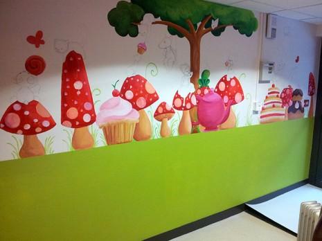 fresque féérique pour enfants dans une cantine