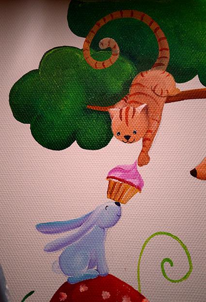peinture du petit chat qui prend le gâteau du lapin