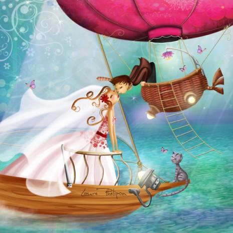 Faire-part de mariage sur le thème de Jules Verne