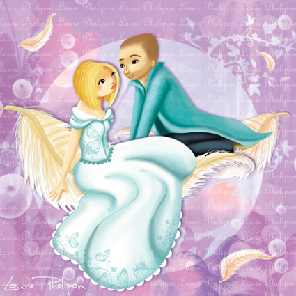 Faire-part de mariage - amoureux assis sur des plumes